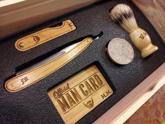 Personalized Handmade Straight Razor Cigar Box Shave Kit - Aromatic Cedar
