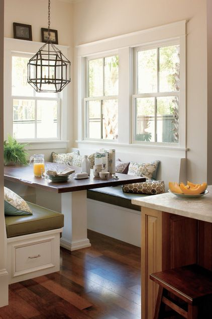 idea w/ no back seating, just long table to wall__traditional kitchen by Jackson Cabinetry LLC