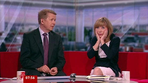 BBC Breakfast presenter Sian Williams propping up her head.