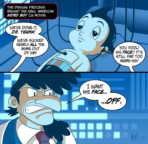 Astro Boy Fan Comic .  Nicholas Cage as Dr. Tenma in the American dub of the Hong Kong Astro Boy film. God, that was wierd.