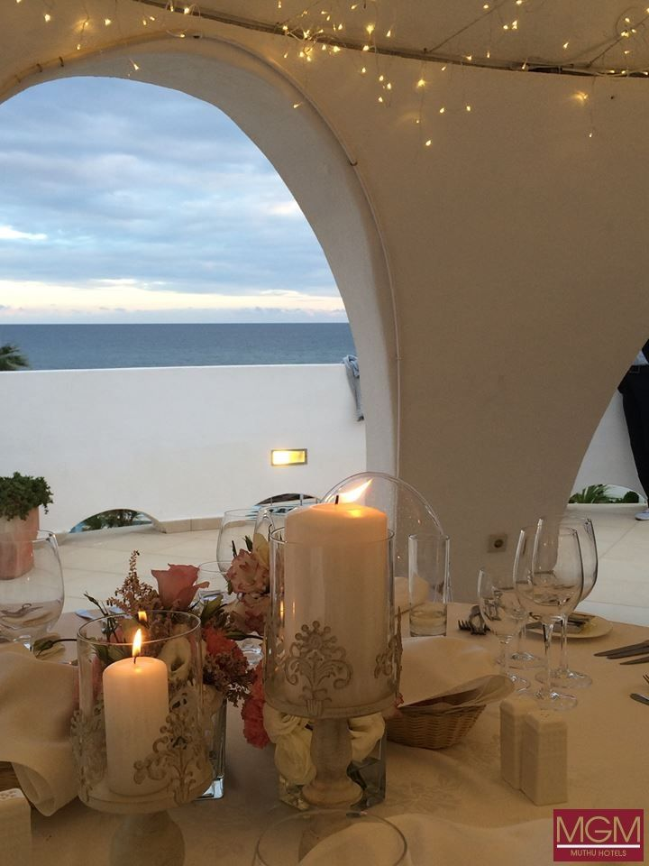 Dinner Reception at the Stardome of the Oura View Beach Club. Sea View at its finest.