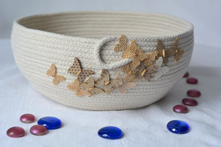 Home Decor Bowl, Handmade Rope Basket, Modern Clothesline Basket, Lovely Creamy Beige Bowl,  hand coiled natural rope basket by WexfordTreasures on Etsy