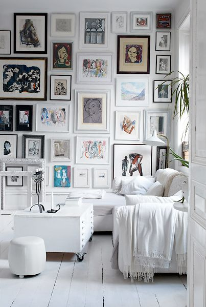 wall to wall gallery: Idea, Living Rooms, Floors, Galleries Wall, Photo Wall, White Rooms, Frames Wall, Pictures Wall, Art Wall