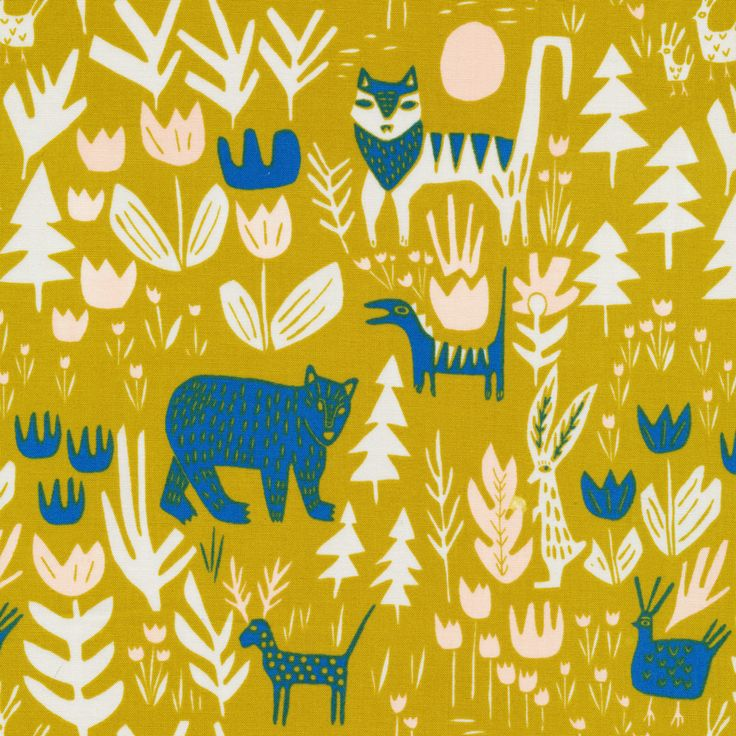 151818 Lions Tigers and Bears   Gold Quilter's Cotton from Lore by Leah Duncan for Cloud9 Fabrics