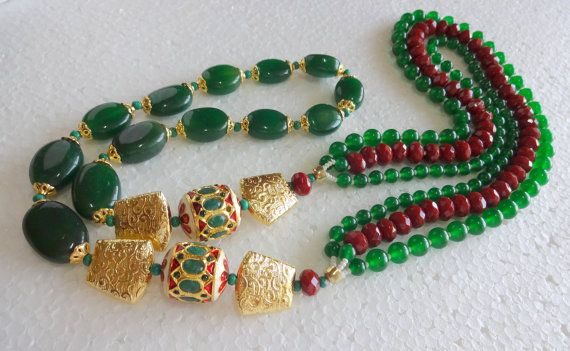 Indian Kundan Statement Necklace -Green Onyx and Maroon Beads Necklace with Ethnic Jaipur Kundan work