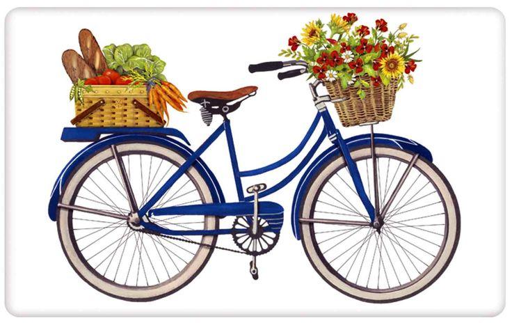 Blue Vintage Farmers Market Bicycle 100% Cotton Flour Sack Dish Towel Tea Towel