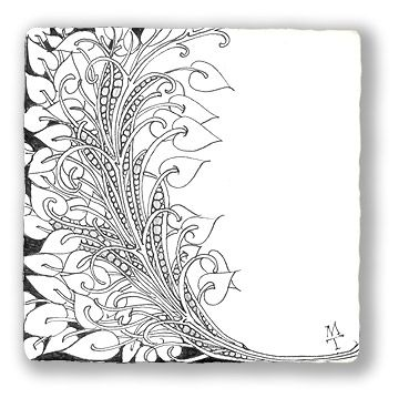 LOVE THIS ONE: You don't have to fill your tile or keep things centered. Here's what Maria did with a variant of pokeroot and pearlz.: Heart Zentangle, Zentangle Heart, White Spaces, Zentangle Com, Zentangle Art, Art Journals, Zentangle Border Patterns, Border Patterns Paper, Zentangle Patterns Leaves