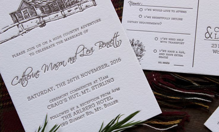 Letterpress high country wedding invitation suite Craig's Hut hand-illustrated