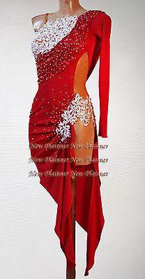 Women Ballroom Latin Rhythm Rumba Salsa Dance Dress US 6 UK 8 Sliver Red Color