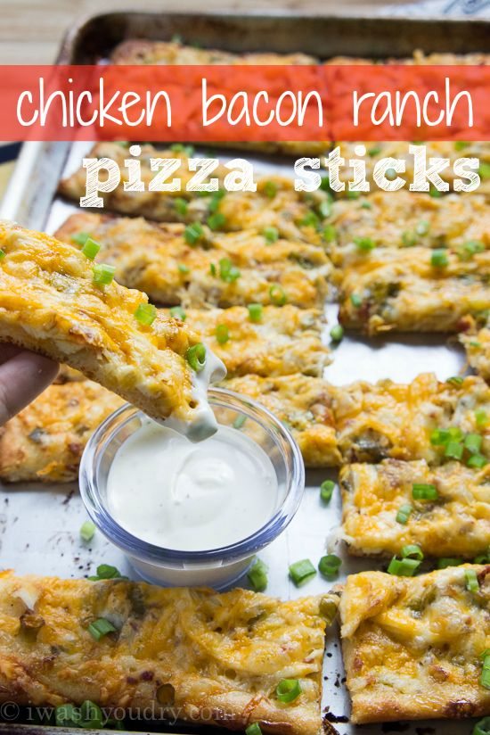 Chicken Bacon Ranch Pizza Sticks - I Wash You Dry