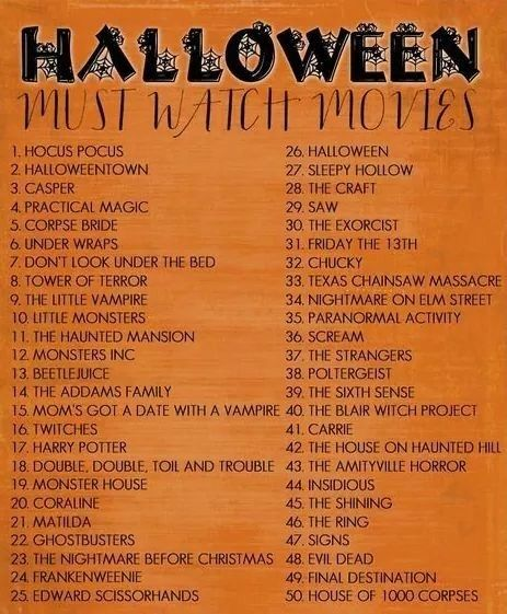 "Halloween movies.  I would add ""The Witches of Eastwick"""