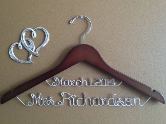 Bride Hanger With Date For Your Wedding Pictures Personalized Custom Bridal Brides