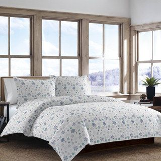 Eddie Bauer Tossed Snowflake Flannel Duvet Cover Set   Overstock.com Shopping - The Best Deals on Duvet Covers