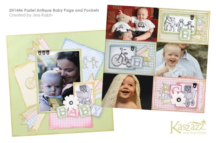 2H1446 Pastel Antique Baby Page and Pockets