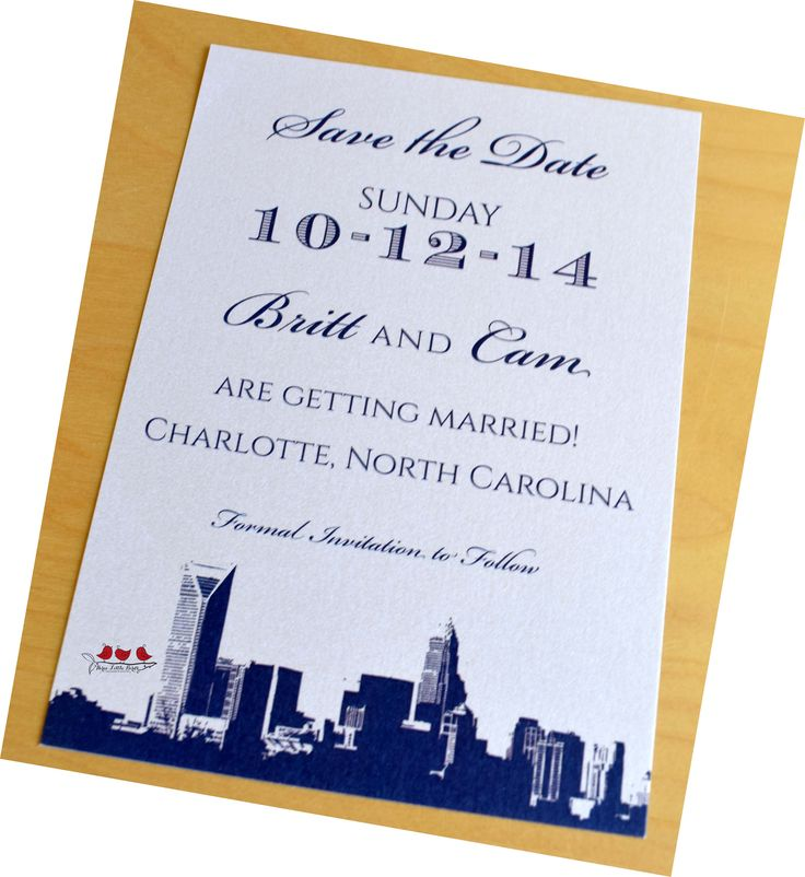 Charlotte Skyline Save The Date With Various Typography By Three Little  Birds, Www.threelittlebirdsinc