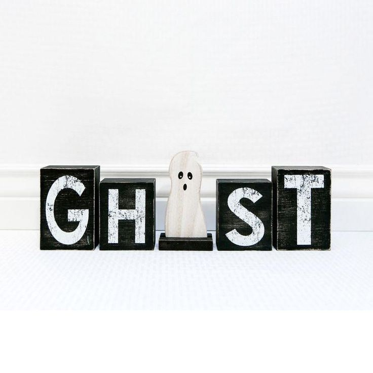 Ghost Wooden Block Letters