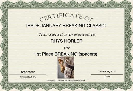 1st Place Board Breaking with Palm Strike for Rhys Horler at The International Breaking and Self Defence Federation Championships (February 2015)