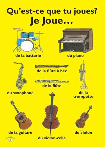 ... french learning vocabulary - instruments