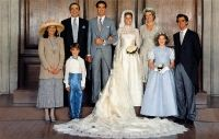 greekroyalfamily:  Greek Royal Family Christmas Card 1995-Wedding of Crown Prince Pavlos:  Princess Alexia, King Constantine, Prince Philippos (page), Crown Prince Pavlos, Crown Princess Pavlos (Marie-Chantal), Queen Anne-Marie, Princess Theodora (bridesmaid), Prince Nikolaos