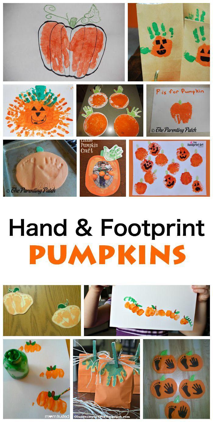 Hand and Footprint Pumpkins. Great fall art activity for kids!