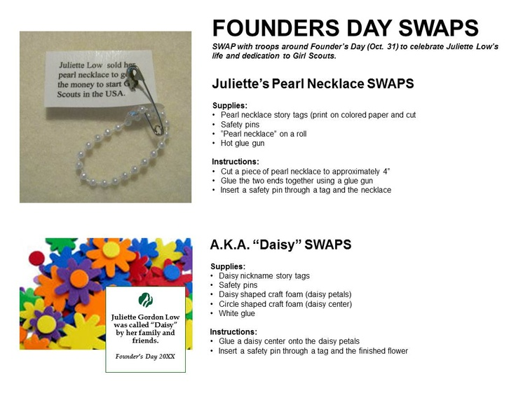 girl scout founder s day swaps girl scout ideas