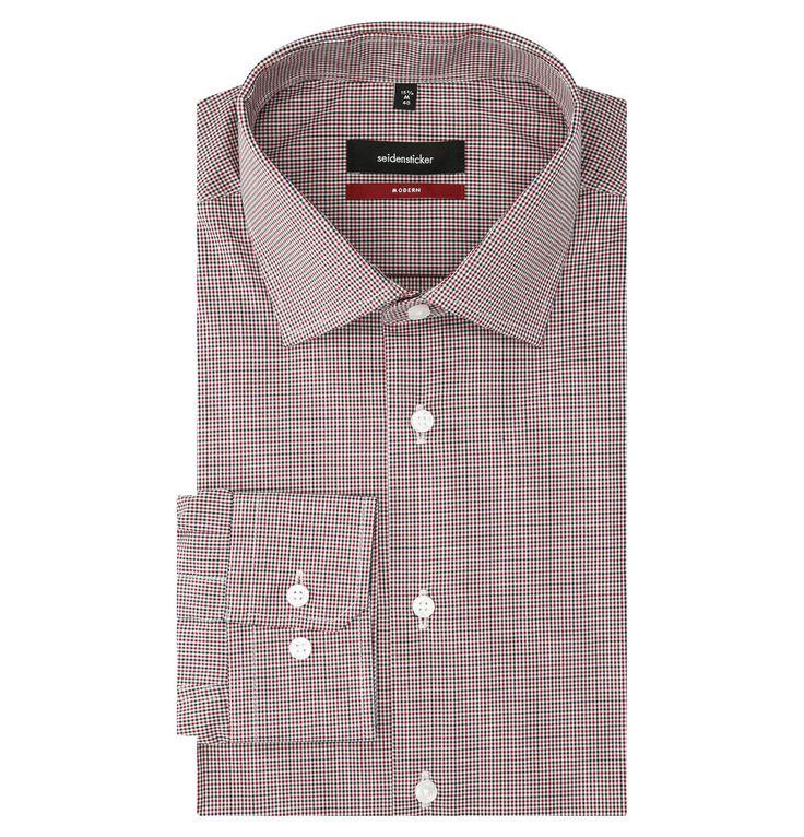 Businesshemd, Modern Fit, Karo-Muster, reine Baumwolle