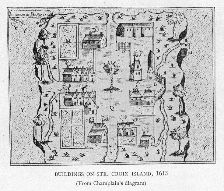 Buildings on Saint Croix Island - circa 1613 - Project Gutenberg etext 20110 - Acadie (Nouvelle-France) — Wikipédia