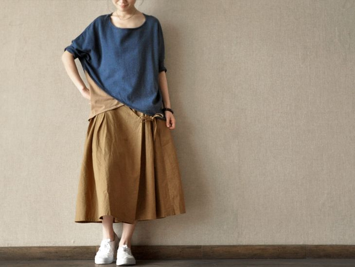 Yellow Sun Skirt Daily leisure Linen Women Clothes