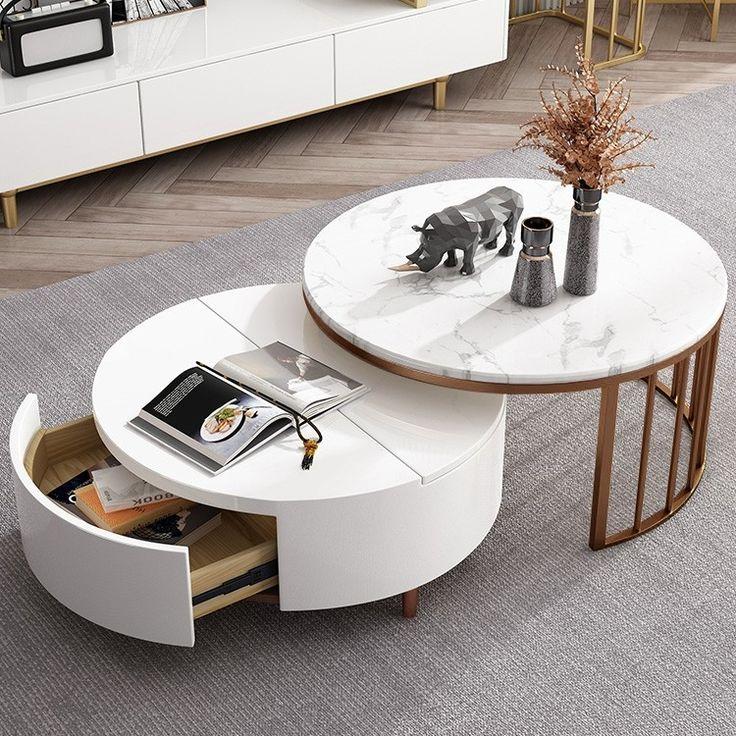 Modern white walnut white round coffee table with