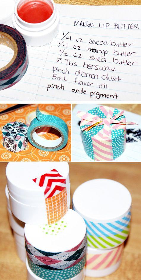Mango Lip Balm Decorated with Washi Tape | 50 Tiny And Adorable DIY Stocking Stuffers
