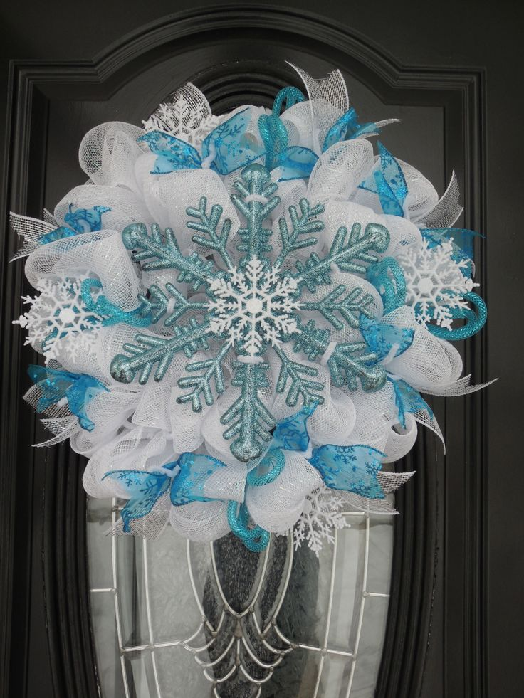 Ice Blue & White Deco Mesh Winter Wreath for Christmas 2014