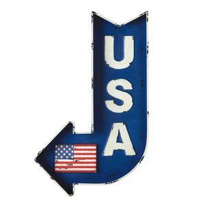 Panneau flèche en métal bleu 50 x 80 cm USA