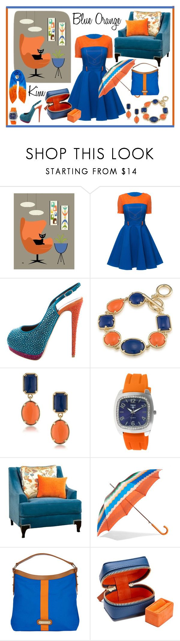 """Blue Orange"" by kimmie-plus2 on Polyvore featuring Lattori, Giuseppe Zanotti, 1st & Gorgeous by Carolee, Trax, Furniture of America, Missoni, Davey's, STOW and Allegra London"
