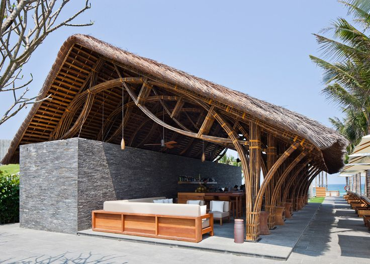 Bamboo restaurant and beach bar added to spa resort in Vietnam by Vo Trong Nghia.
