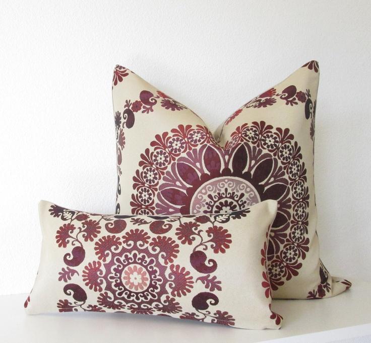 Decorative Pillow Cover   20x20   Tan   Burgundy   Plum   Suzani   Suzani  Throw