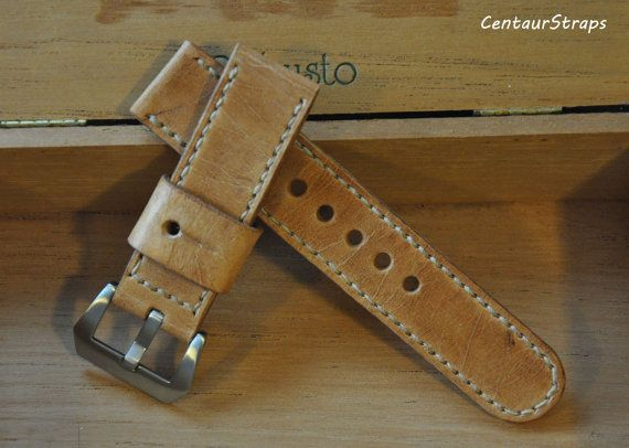 Vintage Style handmade leather watch strap 24 mm by CentaurStraps