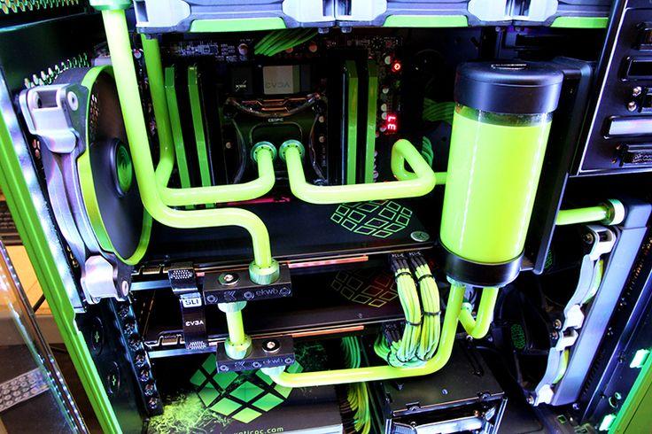 Neon green custom pc paint job by XOTIC PC