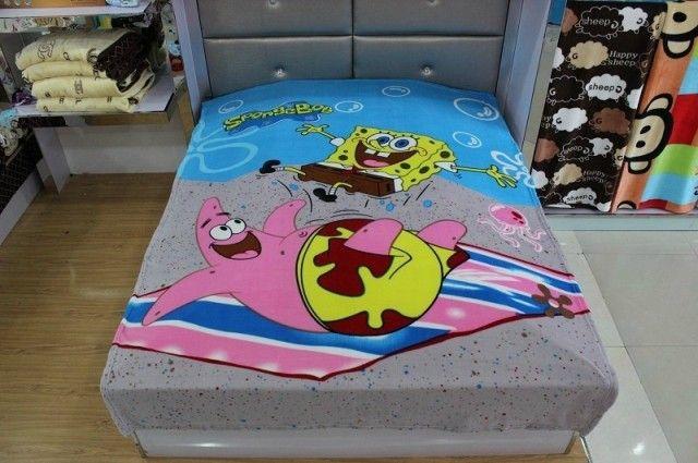 Мультфильм Одеяло Червь губка боб Одеяла 150*200 см одеяла для кровати постельные принадлежности детское вязание крючком детское одеяло