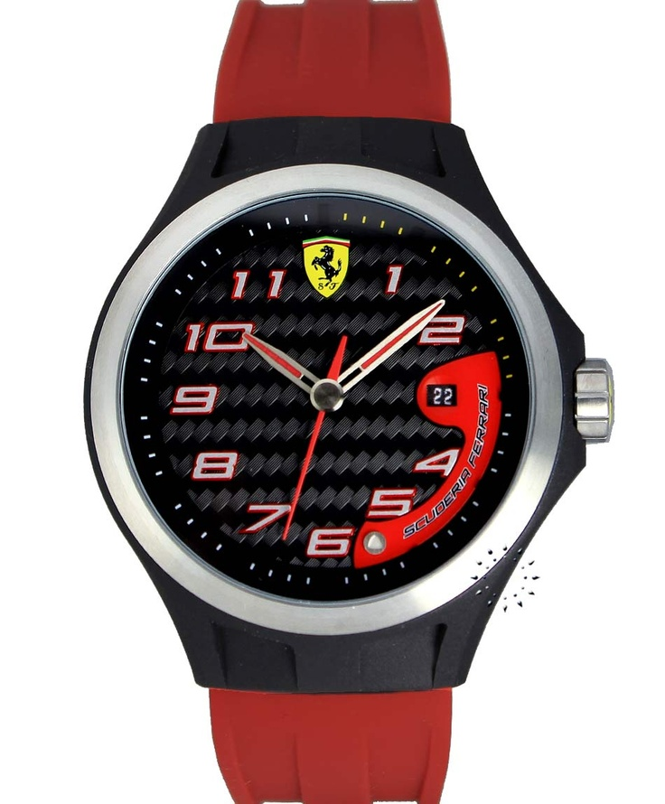 FERRARI Lap Time Red Rubber Strap, 169€ http://www.oroloi.gr/product_info.php?products_id=33361