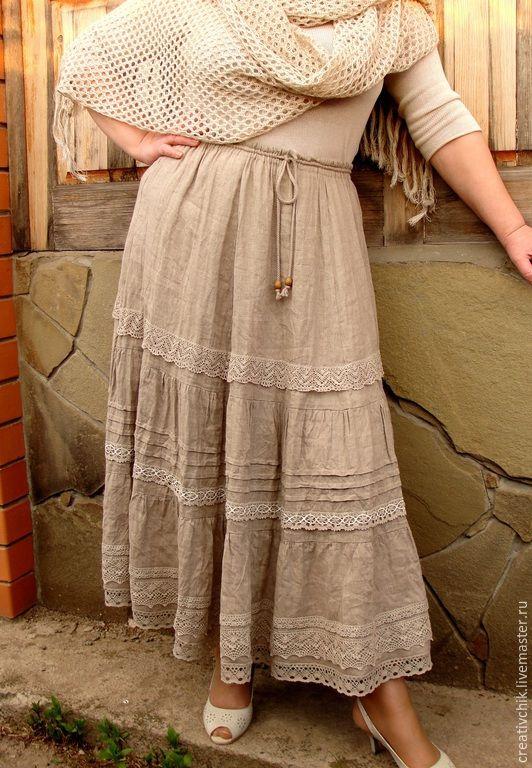 Купить Юбка льняная авторская 2. Длинная летняя юбка. - льняная летняя юбка