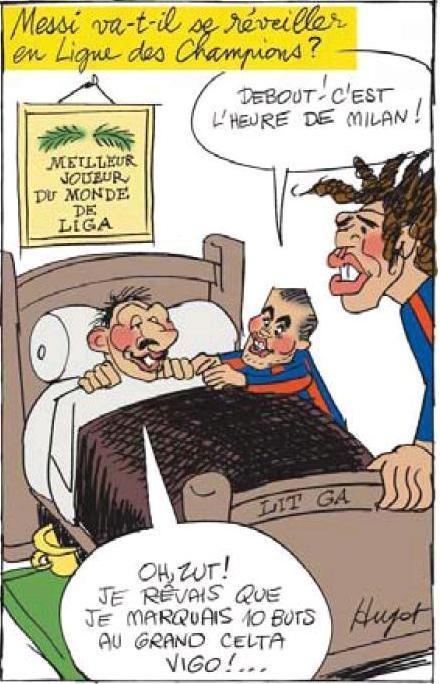 Il miglior giocatore del mondo della Liga. Feroce vignetta dell'Equipe su Messi a poche ore da Barcellona-Milan del 12 marzo 2013.