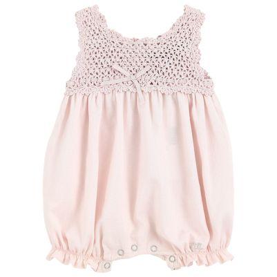 Lili Gaufrette Crochet knit and cotton voile one-piece shorts - 8501 | Melijoe.com Wow! $94.00!