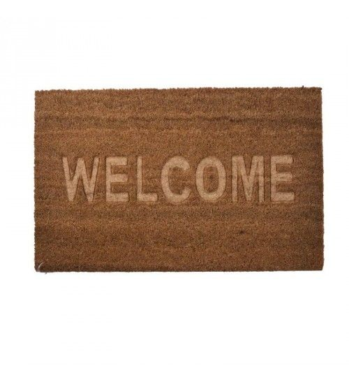 DOORMAT W_PVC BACK AND SYNTHETIC GRASS W_WELCOME BEIGE 40X60