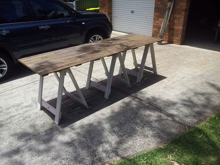 Fence paling trestle table in French Provincial.