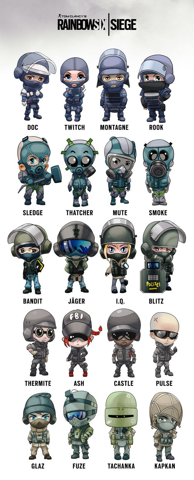 Rainbow Six Siege operator chibis, Arman Akopian on ArtStation at https://www.artstation.com/artwork/2kBrA