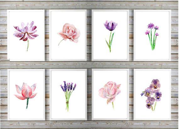 roze lila bloemen aquarel set  8 prints  roos lotus door Zendrawing