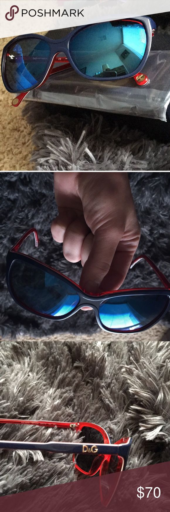 Dolce & Gabbana Mirrored Sunglasses Sold out sunglasses 😱 Get them here! I couldn't find stock pictures but I did find some eyeglasses with the same frame. These are blue lensed mirrored sunglasses. Really rad, great condition barely any wear. Just the glasses, but I will find something cool to put them in 😎Please don't hesitate to ask any questions🛍🔥 Dolce & Gabbana Accessories Sunglasses
