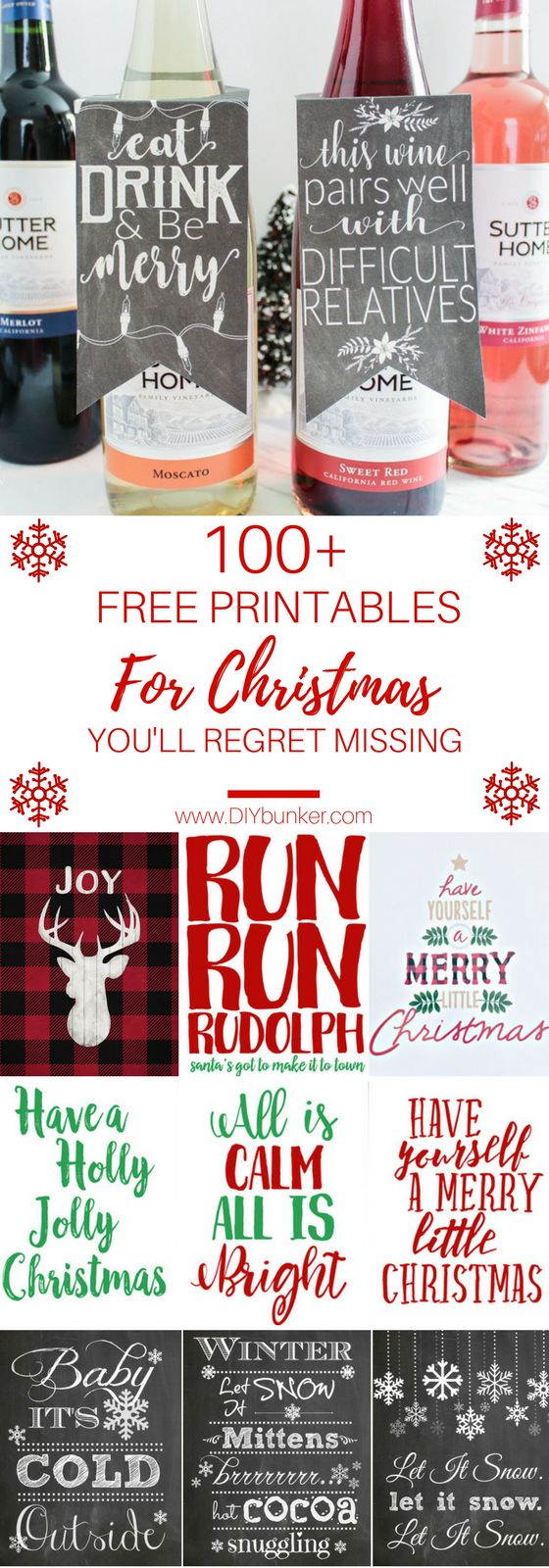 These 100+ Christmas Printables Are GORGEOUS! I love how there is everything from wall art to gift tags labels for wine!