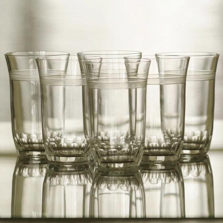 ART DECO GLASS SET cut and frosted crystal, 1s third of the 20th century, Bohemia, 6 pcs, 90 EUR  ART DECO SADA SKLENIC 1. třetina 20. století, Čechy, 6 kusů, 2.400