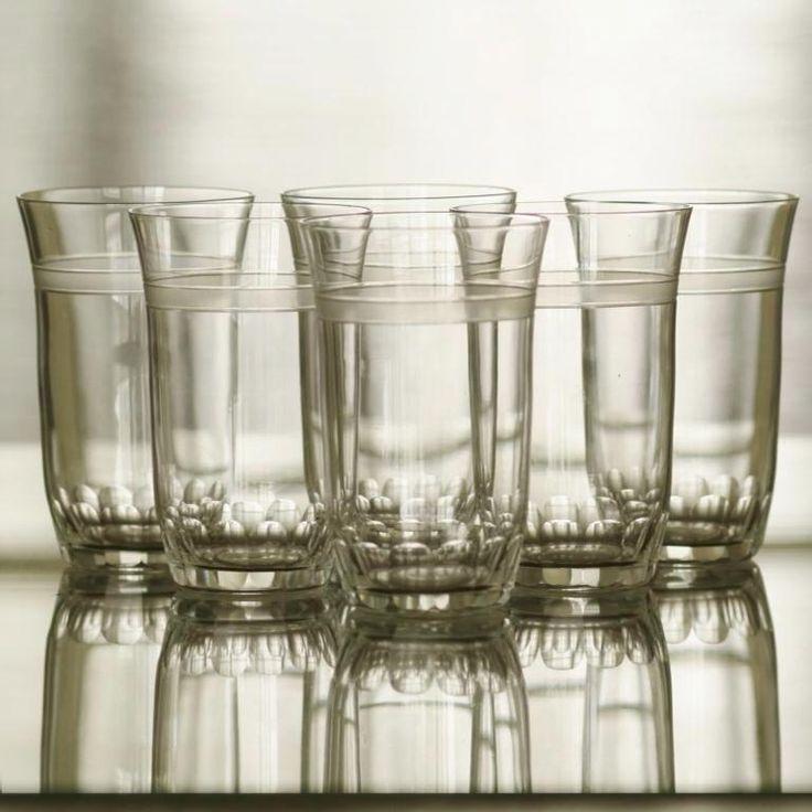 ART DECO GLASS SET cut and frosted crystal, 1s third of the 20th century, Bohemia, 6 pcs, 90 EUR  ART DECO SADA SKLENIC 1. třetina 20. století, Čechy, 6 kusů, 2.400